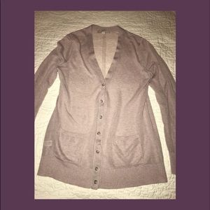 LOFT sheer dusty rose/taupe cardigan size L
